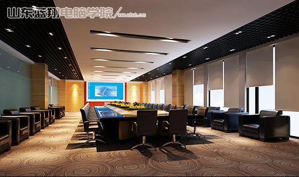 蓝翔电脑学校的学生设计的会议室,以多媒体会议室作为控制中心,采用图片